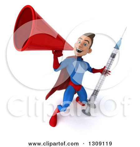 Clipart of a 3d Young Brunette White Male Super Hero in a Blue and Red Suit, Holding a Giant Vaccine Syringe and Announcing Upwards with a Megaphone - Royalty Free Illustration by Julos
