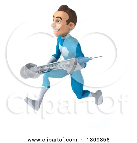 Clipart of a 3d Young Brunette White Male Super Hero in a Blue Suit, Sprinting to the Left and Holding a Giant Vaccine Syringe - Royalty Free Illustration by Julos