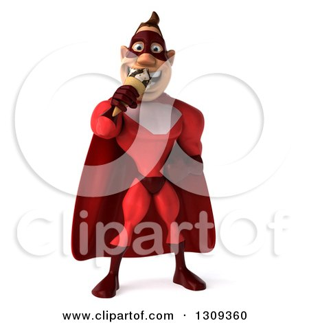 Clipart of a 3d Muscular White Male Super Hero in a Red Suit, Eating a Waffle Ice Cream Cone - Royalty Free Illustration by Julos
