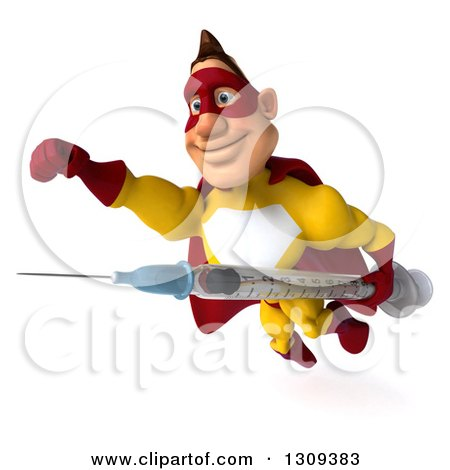 Clipart of a 3d Muscular Male Yellow and Red Super Hero Flying Slightly to the Left with a Vaccine Syringe - Royalty Free Illustration by Julos