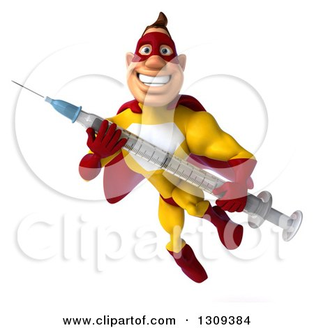 Clipart of a 3d Muscular Male Yellow and Red Super Hero Flying with a Vaccine Syringe - Royalty Free Illustration by Julos