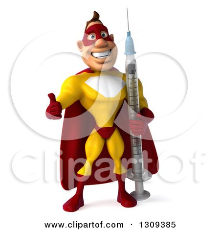 Clipart of a 3d Muscular Male Yellow and Red Super Hero Giving a Thumb up and Holding a Giant Vaccine Syringe - Royalty Free Illustration by Julos