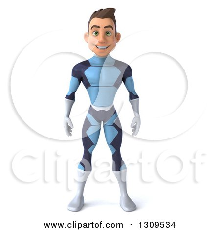 Clipart of a 3d Young Brunette White Male Super Hero in a Dark Blue Suit - Royalty Free Illustration by Julos