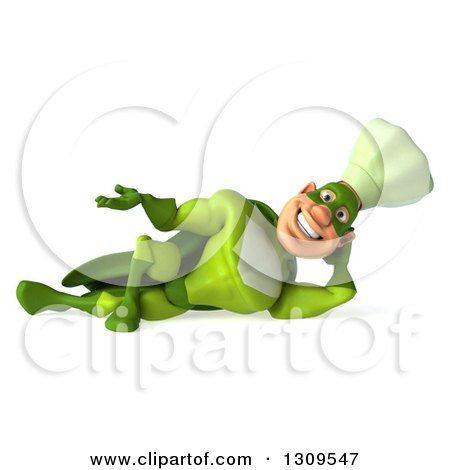 Clipart of a 3d Green Caucasian Male Super Chef Resting on His Side and Presenting - Royalty Free Illustration by Julos