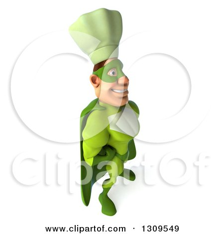 Clipart of a 3d Green Caucasian Male Super Chef Facing Right and Smiling - Royalty Free Illustration by Julos