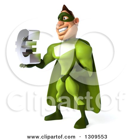 Clipart of a 3d Green Caucasian Male Super Chef Facing Left and Holding a Euro Symbol - Royalty Free Illustration by Julos