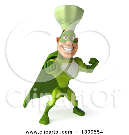 Clipart of a 3d Green Caucasian Male Super Chef Punching - Royalty Free Illustration by Julos