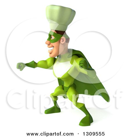 Clipart of a 3d Green Caucasian Male Super Chef Punching to the Left - Royalty Free Illustration by Julos