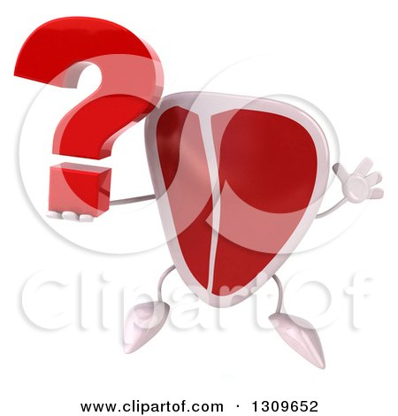 Clipart of a 3d Beef Steak Character Jumping and Holding a Question Mark - Royalty Free Illustration by Julos