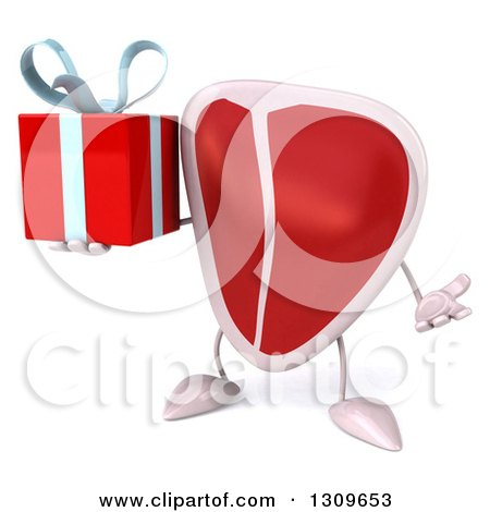 Clipart of a 3d Beef Steak Character Shrugging and Holding a Gift - Royalty Free Illustration by Julos
