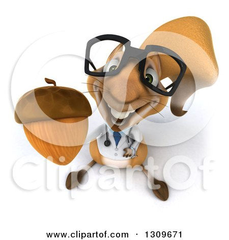 Clipart of a 3d Bespectacled Doctor or Veterinarian Squirrel Holding up an Acorn - Royalty Free Illustration by Julos