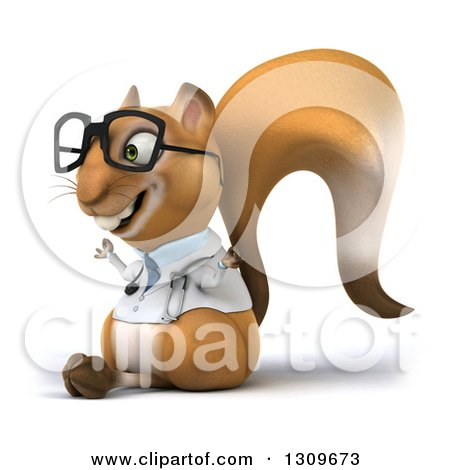 Clipart of a 3d Bespectacled Doctor or Veterinarian Squirrel Facing Slightly Left and Meditating - Royalty Free Illustration by Julos