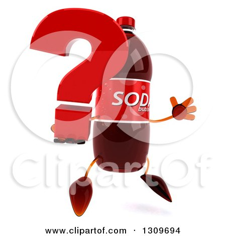 Clipart of a 3d Soda Bottle Character Facing Slightly Right, Jumping and Holding a Question Mark - Royalty Free Illustration by Julos
