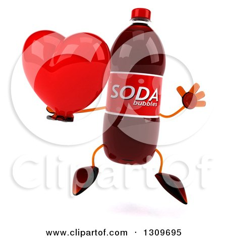 Clipart of a 3d Soda Bottle Character Jumping and Holding a Red Love Heart - Royalty Free Illustration by Julos