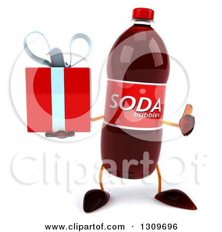 Clipart of a 3d Soda Bottle Character Holding a Gift and Thumb up - Royalty Free Illustration by Julos