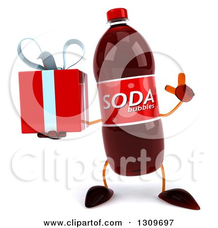 Clipart of a 3d Soda Bottle Character Holding up a Finger and a Gift - Royalty Free Illustration by Julos