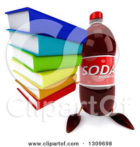 Clipart of a 3d Soda Bottle Character Holding up a Stack of Books - Royalty Free Illustration by Julos