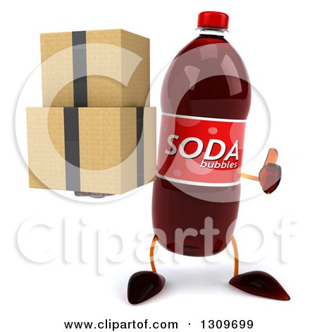 Clipart of a 3d Soda Bottle Character Holding a Thumb up and Boxes - Royalty Free Illustration by Julos