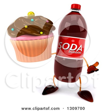 Clipart of a 3d Soda Bottle Character Shrugging and Holding a Chocolate Frosted Cupcake - Royalty Free Illustration by Julos