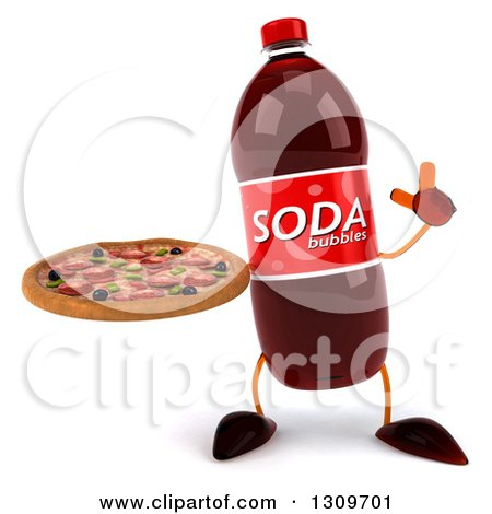 Clipart of a 3d Soda Bottle Character Holding up a Finger and a Pizza - Royalty Free Illustration by Julos