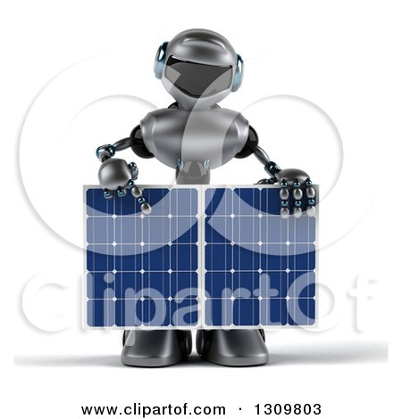 Clipart of a 3d Silver Male Techno Robot Holding and Pointing down to a Solar Panel - Royalty Free Illustration by Julos