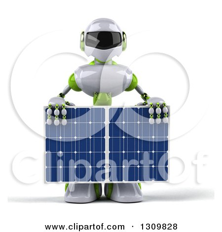 Clipart of a 3d White and Green Robot Holding a Solar Panel - Royalty Free Illustration by Julos