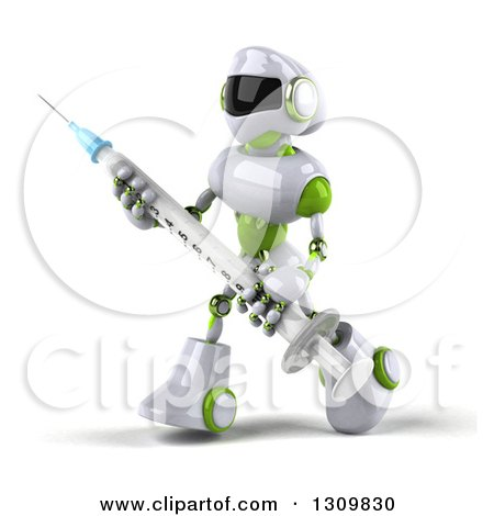 Clipart of a 3d White and Green Robot Walking to the Left and Carrying a Giant Vaccine Syringe - Royalty Free Illustration by Julos