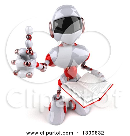 Clipart of a 3d White and Red Robot Giving a Thumb up and Holding an Open Book - Royalty Free Illustration by Julos