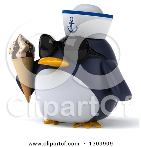 Clipart of a 3d Penguin Sailor Facing Slightly Left, Wearing Sunglasses and Holding a Waffle Ice Cream Cone - Royalty Free Illustration by Julos