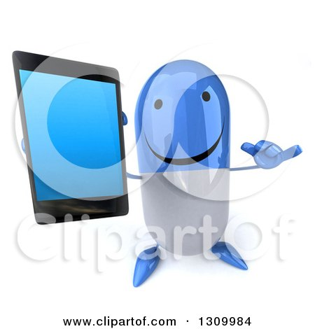 Clipart of a 3d Happy Blue and White Pill Character Holding up a Smart Phone and Gesturing Call Me - Royalty Free Illustration by Julos