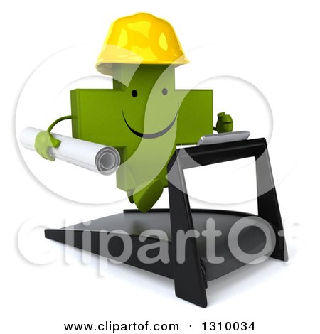 Clipart of a 3d Happy Green Contractor Naturopathic Cross Character Facing Slightly Right, Holding Plans and Running on a Treadmill - Royalty Free Illustration by Julos