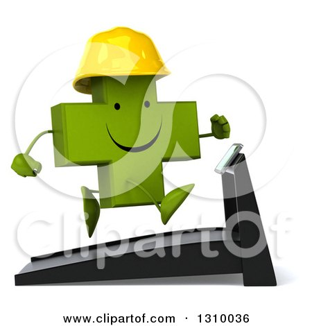 Clipart of a 3d Happy Green Contractor Naturopathic Cross Character Facing Right and Running on a Treadmill - Royalty Free Illustration by Julos