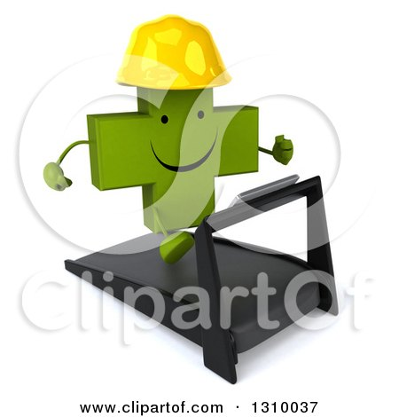 Clipart of a 3d Happy Green Contractor Naturopathic Cross Character Facing Slightly Right and Running on a Treadmill - Royalty Free Illustration by Julos