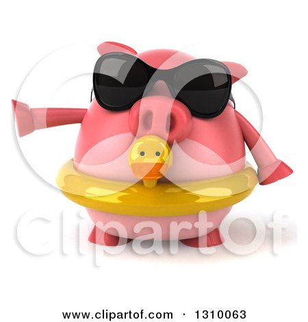 Clipart of a 3d Chubby Pig Wearing Sunglasses and a Duck Inner Tube and Pointing to the Left - Royalty Free Illustration by Julos