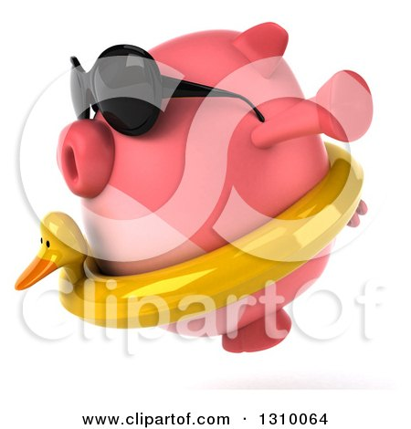 Clipart of a 3d Chubby Pig Wearing Sunglasses and a Duck Inner Tube, Facing Left and Jumping - Royalty Free Illustration by Julos
