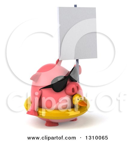 Clipart of a 3d Chubby Pig Wearing Sunglasses and a Duck Inner Tube, Facing Right and Holding a Blank Sign - Royalty Free Illustration by Julos