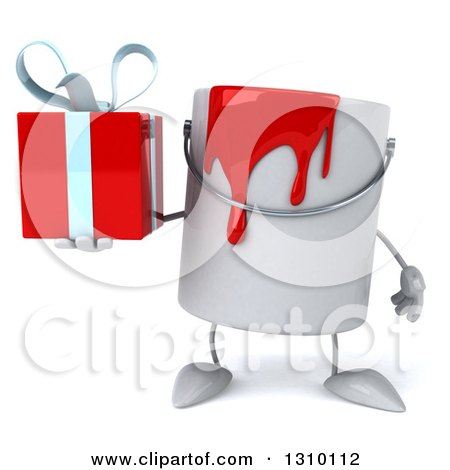 3d Can of Red Paint Character Holding a Gift Posters, Art Prints