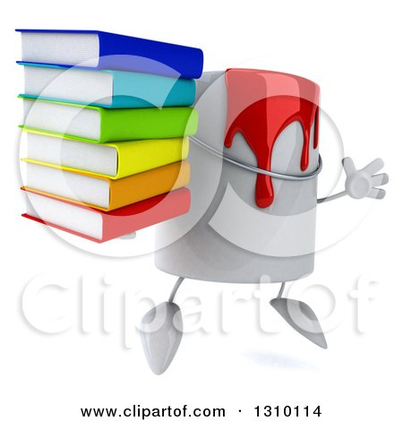 3d Can of Red Paint Character Facing Slightly Right, Jumping and Holding a Stack of Books Posters, Art Prints