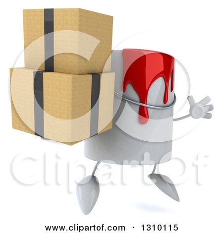 3d Can of Red Paint Character Facing Slightly Right, Jumping and Holding Boxes Posters, Art Prints