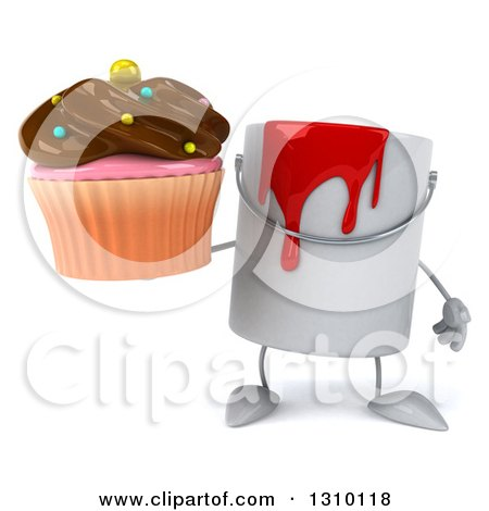 3d Can of Red Paint Character Holding a Chocolate Frosted Cupcake Posters, Art Prints
