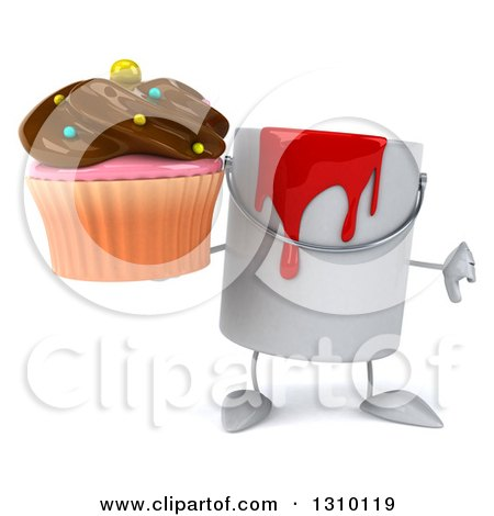 3d Can of Red Paint Character Holding a Thumb down and a Chocolate Frosted Cupcake Posters, Art Prints