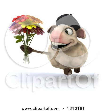 Clipart of a 3d French Sheep Running and Holding a Flower Bouquet - Royalty Free Illustration by Julos