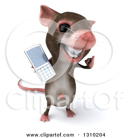 Clipart of a 3d Mouse with Braces, Gesturing Call Me and Holding a Cell Phone - Royalty Free Illustration by Julos
