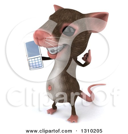 Clipart of a 3d Mouse with Braces, Facing Left, Gesturing Call Me and Holding a Cell Phone - Royalty Free Illustration by Julos