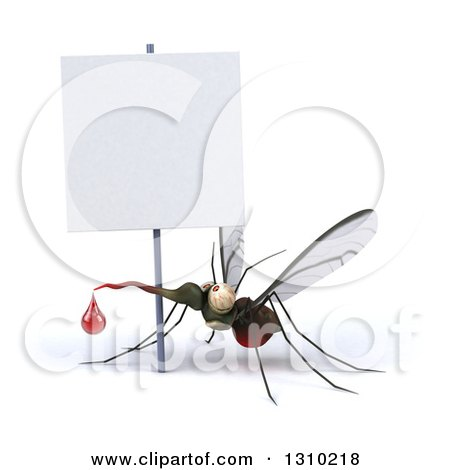 Clipart of a 3d Mosquito with a Blood Drop Under a Blank Sign - Royalty Free Illustration by Julos