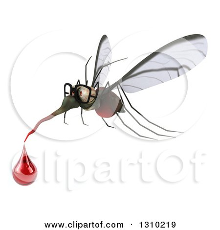 Clipart of a 3d Mosquito Flying to the Left with a Blood Drop - Royalty Free Illustration by Julos