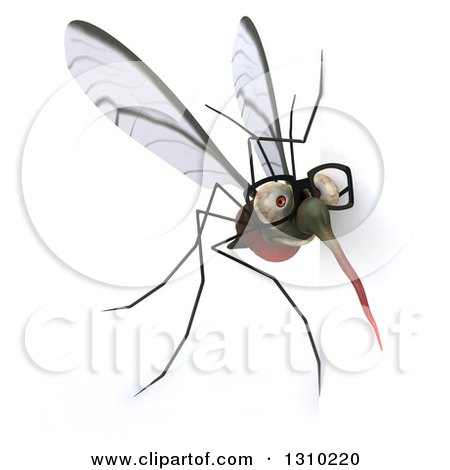 Clipart of a 3d Bespectacled Mosquito Looking Around a Sign - Royalty Free Illustration by Julos