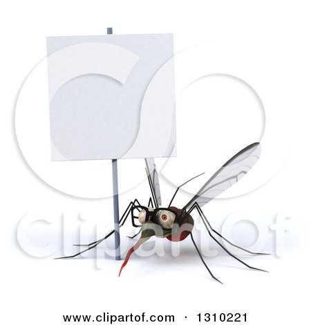 Clipart of a 3d Bespectacled Mosquito Under a Blank Sign - Royalty Free Illustration by Julos