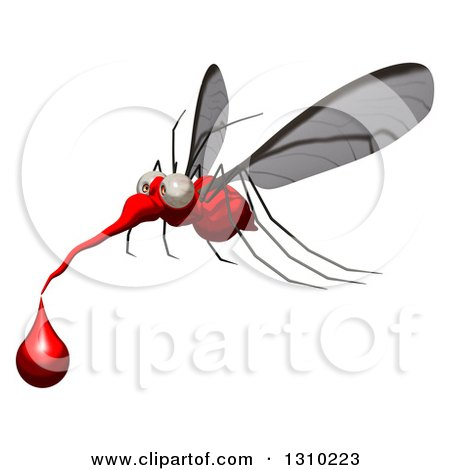 Clipart of a Cartoon Mosquito Facing Left and Flying with a Blood Drop - Royalty Free Illustration by Julos