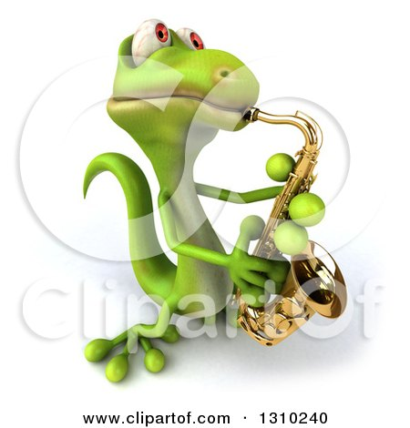 Clipart of a 3d Green Gecko Facing Slightly Right, Leaning Back and Playing a Saxophone - Royalty Free Illustration by Julos
